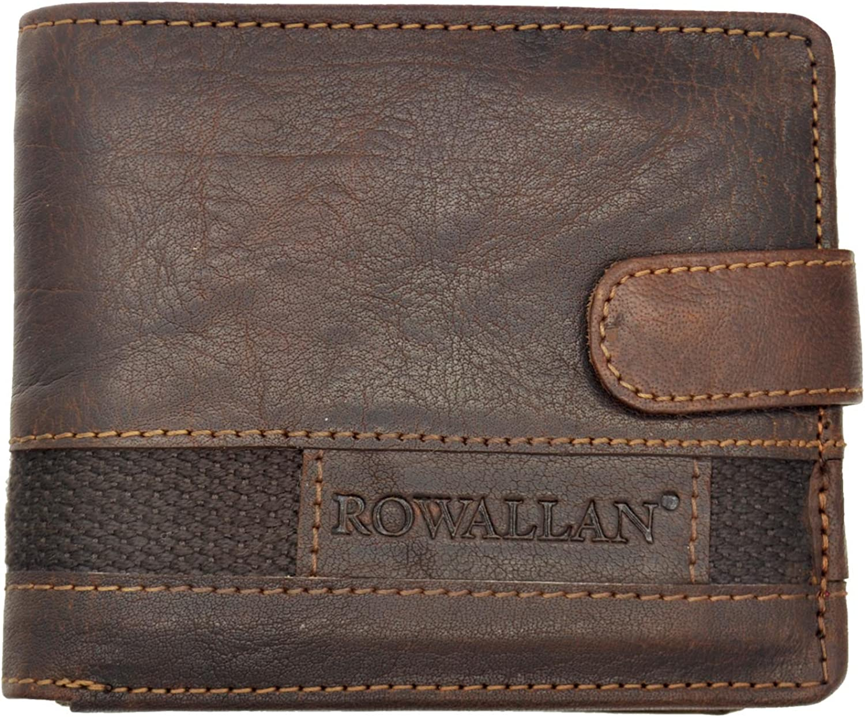 Mens Bi-Fold BUFFALO LEATHER WALLET Rowallan of Scotland; Panama Collection Gift