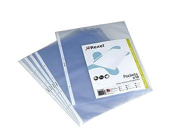 Rexel - Fundas de polipropileno de apertura superior (DIN A3, formato vertical, 10 unidades): Amazon.es: Oficina y papelería