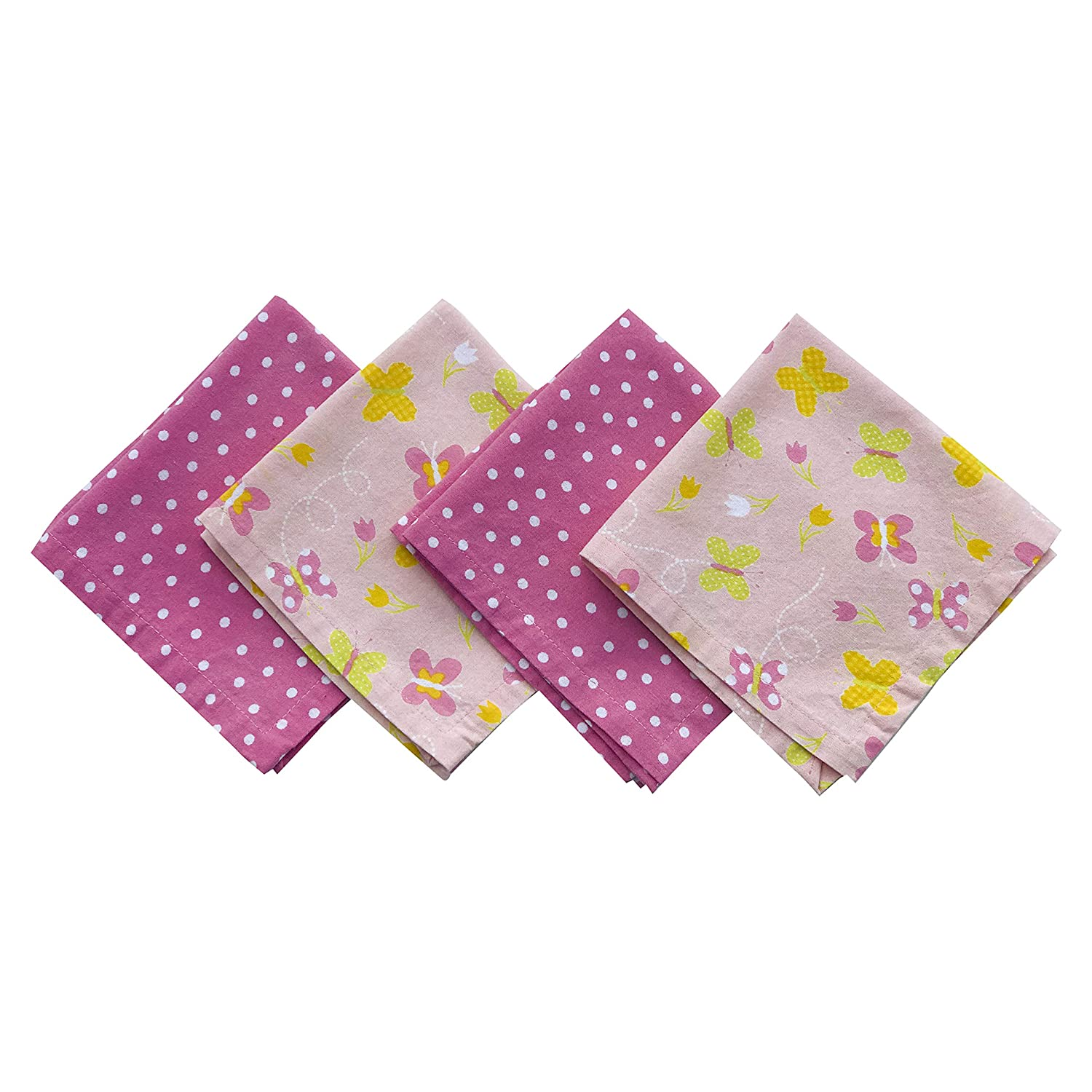 Funkins Reusable Cloth Napkins for Kids | Lunch Boxes | Eco-Friendly | Machine Washable, Durable | Name Tag | Set of 4, 12x12 Soft Cotton Napkins | Butterflies MyFunkins Ltd.