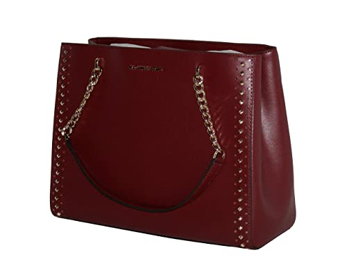 c6ee59f2338b MICHAEL Michael Kors Women s ELLIS Large Studded Leather TOTE Handbag  (CHERRY)  Amazon.co.uk  Shoes   Bags