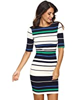 MakeMeChic Women's Striped Half Sleeve Zip Bodycon Pencil Dress