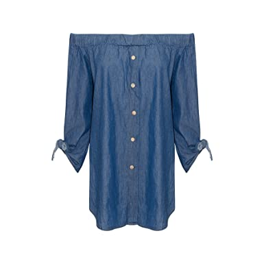 65e96455f9e AHR New Womens Ladies Off The Shoulder Bardot Button Denim Look Shirt Dress  TOP 8-16  Amazon.co.uk  Clothing