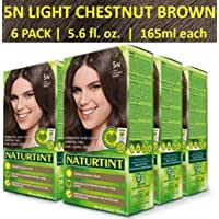 Naturtint Permanent Hair Color 5N Light Chestnut Brown (Pack of 6), Ammonia Free...