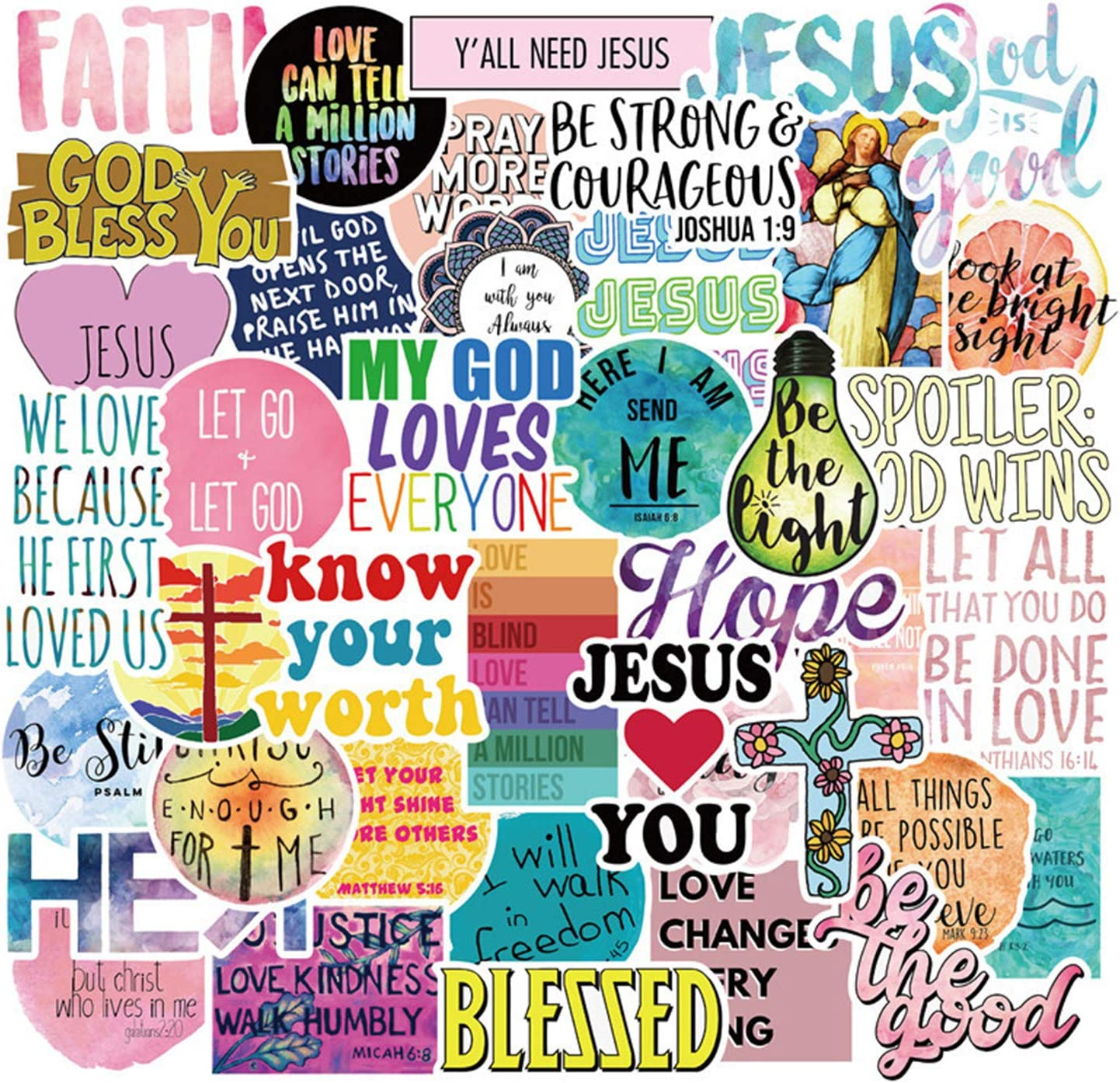 The Jesus Stickers for Faith Wisdom Words Decals for Teens,Adults | Perfect for Waterbottle,Laptop,Phone,Hydro Flask Travel Vinyl Stickers Waterproof (Jesus 50pcs)