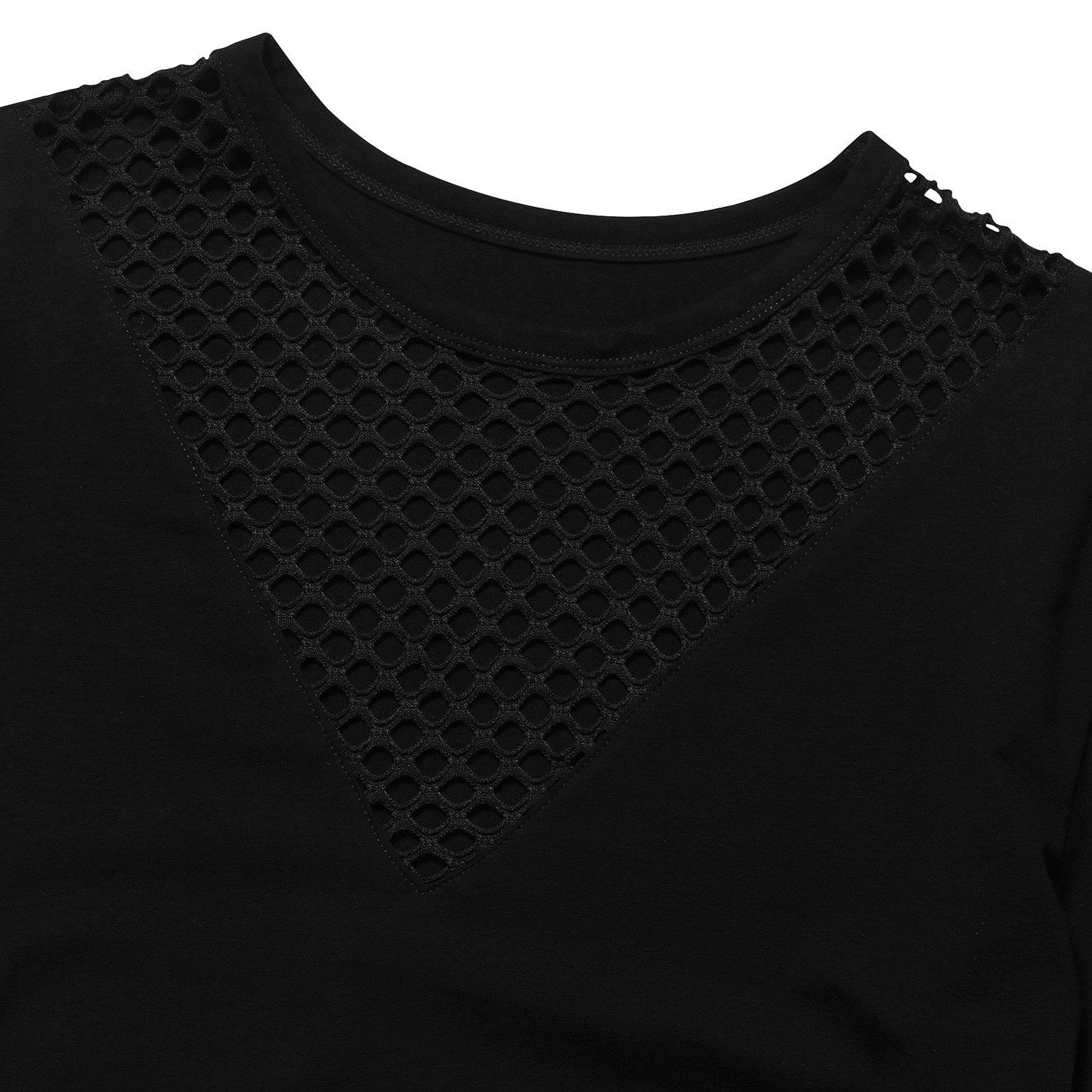short sleeve crop tops for women Black Large by Perfashion (Image #6)