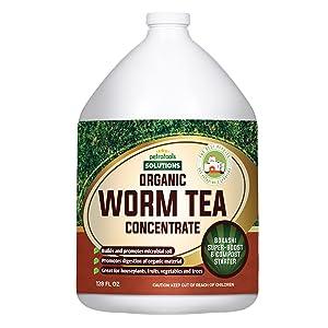 Worm Tea for Gardening Soil - Worm Tea Fertilizer Liquid - Organic Worm Castings, Earthworm Casting Manure Fertilizer - Earthworm Tea Worm Castings Organic - PetraTools Worm Casting Concentrate (1 Gallon)