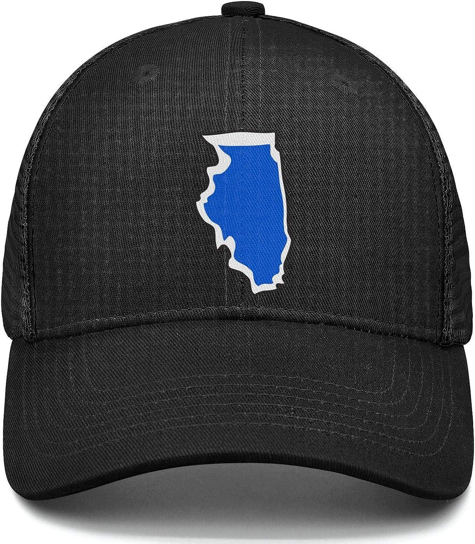 Illinois State Blue Truck Driver Hats Adjustable Unisex Mesh Cap Duck Tongue Caps Classic Cap
