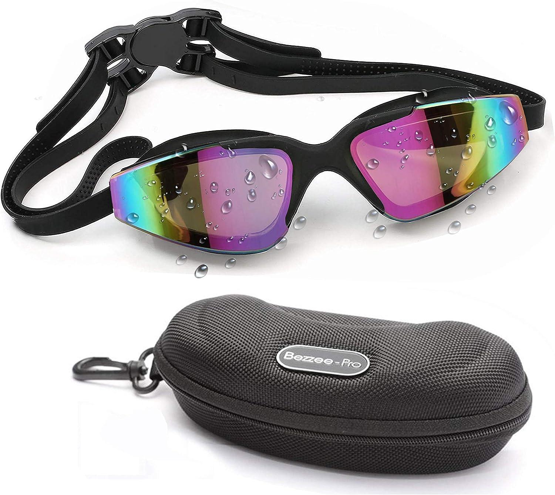 BEZZEE PRO Gafas de Natación - Unisex Gafas para Nadar - Protección UV Impermeable Gafas Piscina con Ajustable Correa Doble y Estuche Protector para Adulto Hombres Mujeres y Niños 10 años+