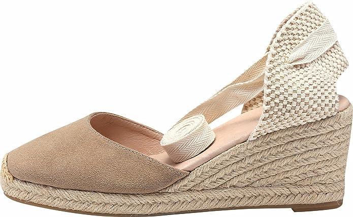 SimpleC para Mujer Suave Tobillera, Punta Cerrada, Alpargatas de cuñas clásicas con tacón de 2,5 Pulgadas: Amazon.es: Zapatos y complementos