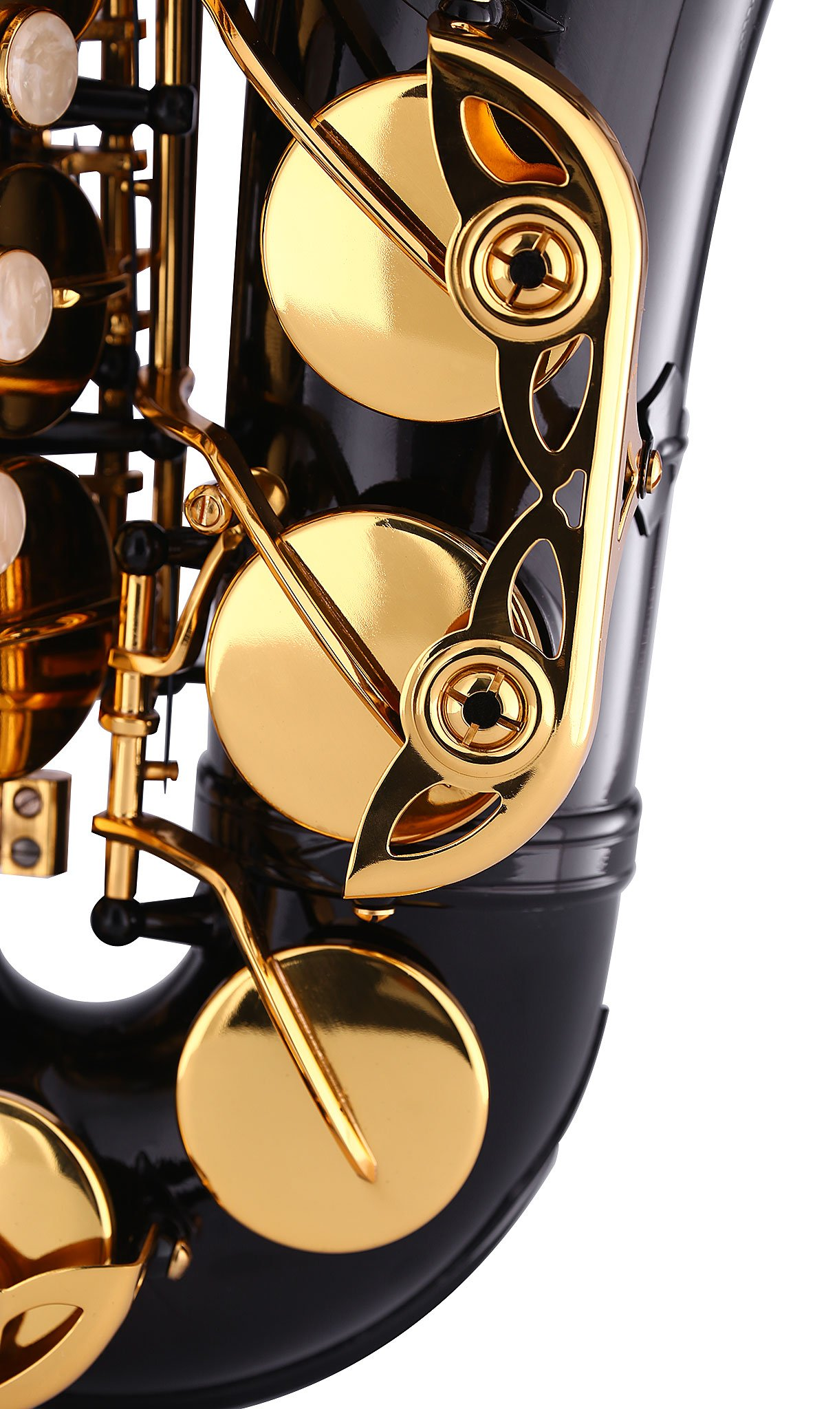 Kaizer Alto Saxophone E Flat Eb Black Lacquer Body Gold Keys 1000 Series Sax Includes Case Mouthpiece and Accessories ASAX-1000BKGK by Kaizer (Image #4)