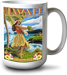 product image for Lantern Press Hawaii - Hula Girl on Coast - Merrie Monarch Festival (15oz White Ceramic Mug)