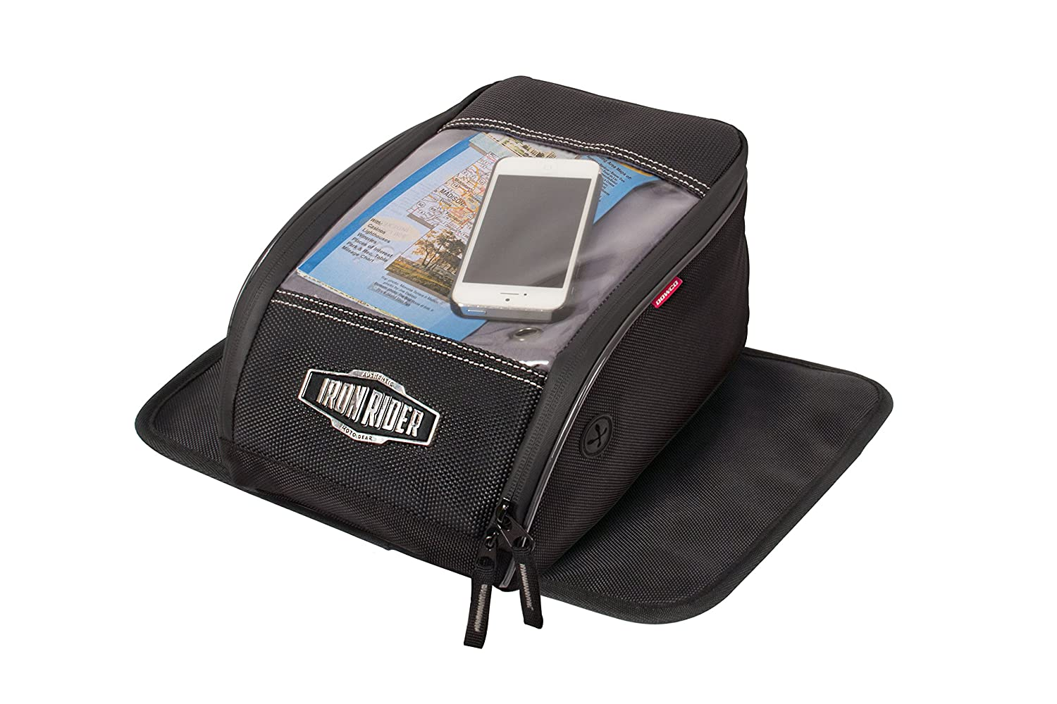 Dowco Iron Rider 50130-00 Water Resistant Reflective Magnetic Mount Motorcycle Tank Bag With Window: Black, Universal Fit, 7 Liter Capacity Dowco Inc.