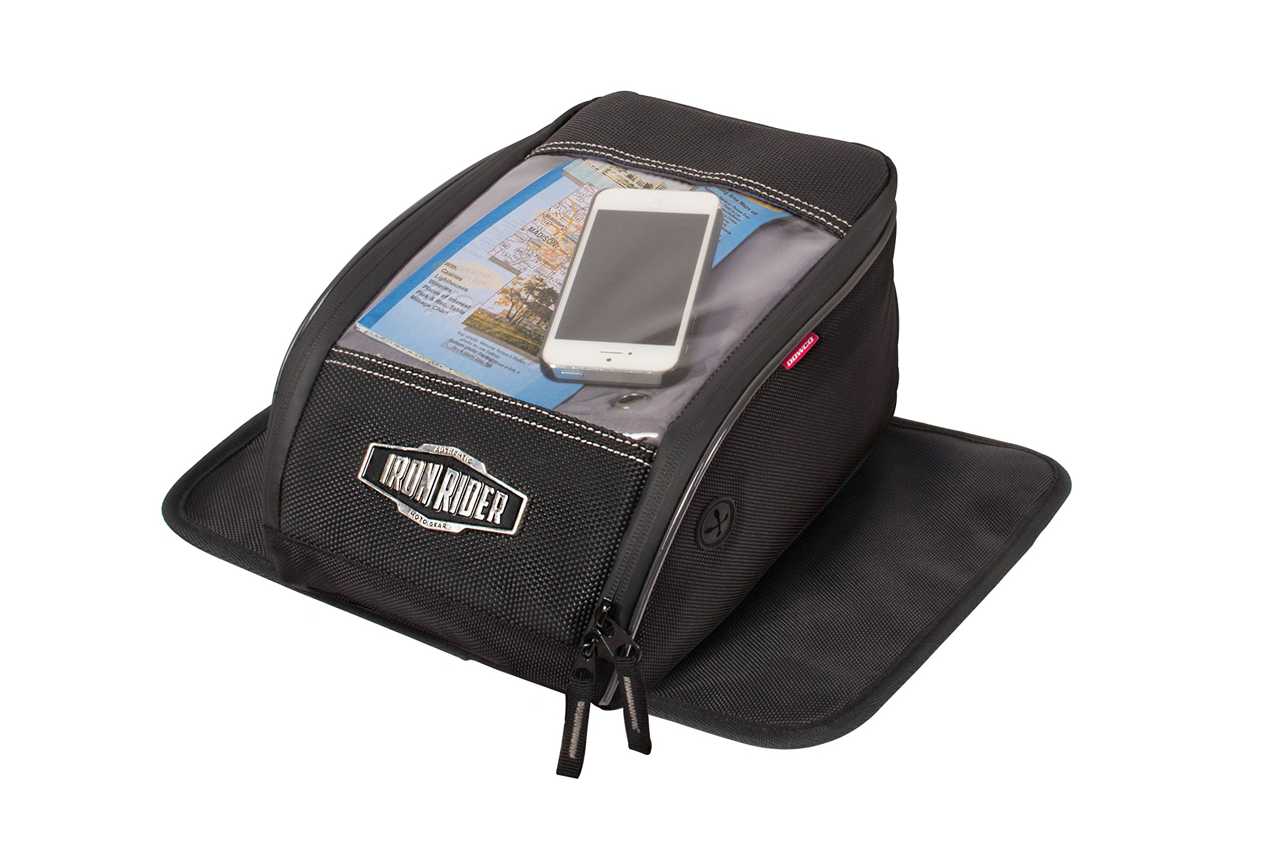 Dowco Iron Rider by 50130-00 Water Resistant Reflective Magnetic Mount Motorcycle Tank Bag With Window: Black, Universal Fit, 7 Liter Capacity