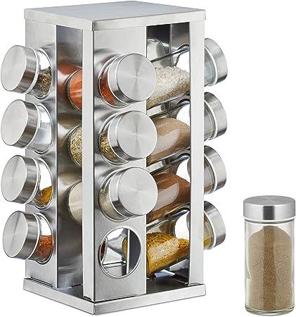 Pr/ésentoir a /épices rotatif 6 pots en verre