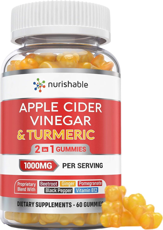 Apple Cider Vinegar Gummies & Turmeric Gummies in 1 Bottle - for Joint Support, Detox Cleanse & Weight Management for Women & Men - Packed with Ginger, B12, Black Pepper, Pomegranate (60 Gummy Chews)