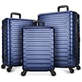 SHOWKOO Luggage Expandable Hardside Lightweight Durable Spinner Wheels Clearance Suitcase Set with TSA Lock 3 PCS (Deep blue)