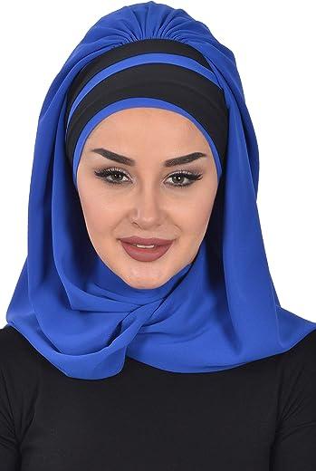 شال للنساء فوري خفيف الوزن وشاح شيفون Modesty عمامة قبعة رأس لف