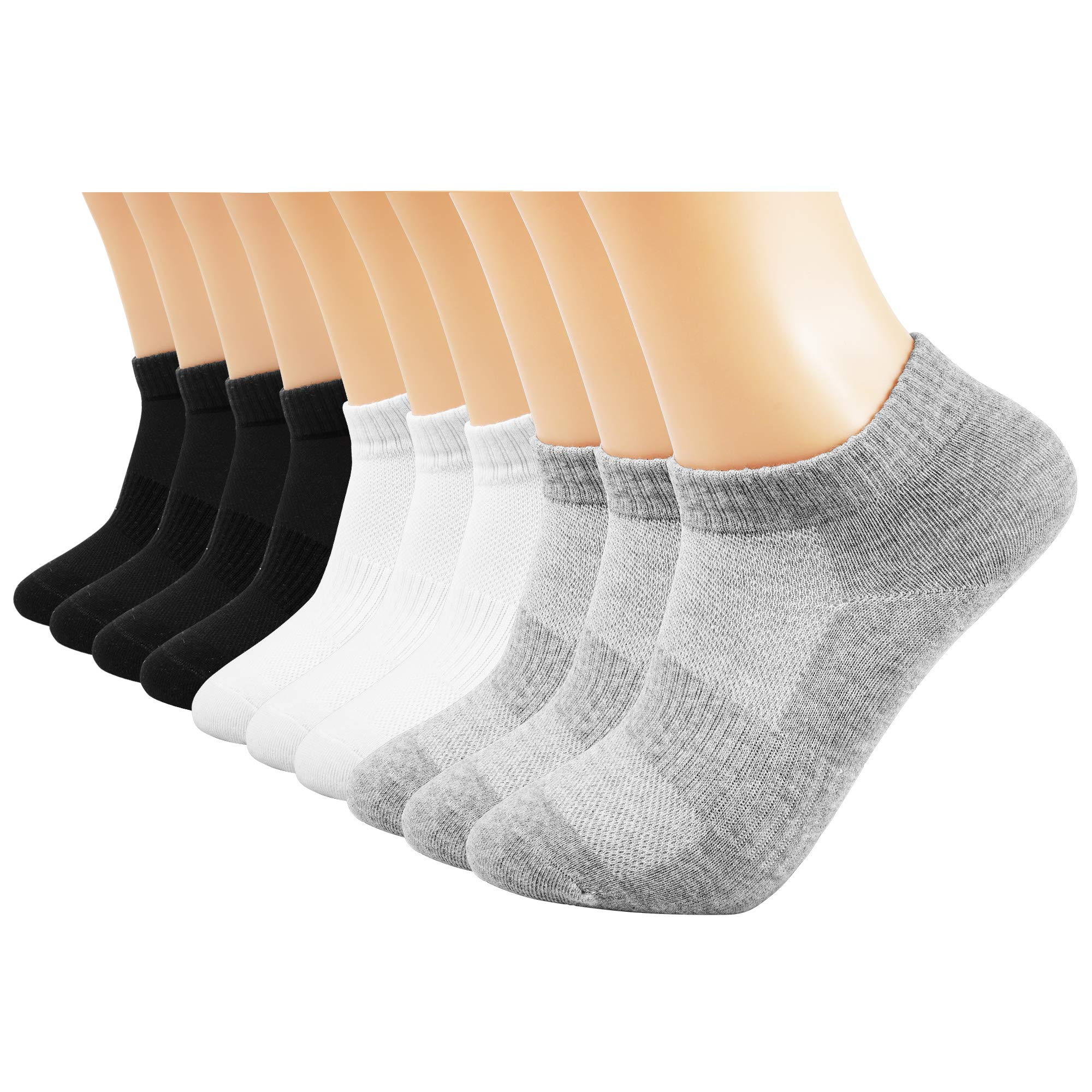 AVANTMEN Men\'s Ankle Socks 10 Pack Solid Low Cut Running Athletic Cotton Socks Moisture-wicking Casual Use 4 Seasons (Black 4 + White 3 + Grey 3)