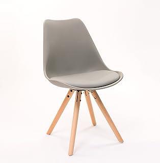 silla de comedor andy patas de madera y asiento gris