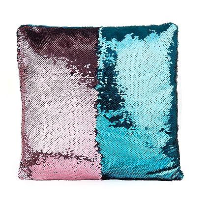 SenPuSi Funda de Cojín con Lentejuelas Sirena Dos Colores Mágica Magia Reversible Funda de Almohada Decorativo sofá, Coches y sillas 40x40cm/ 16x16 ...