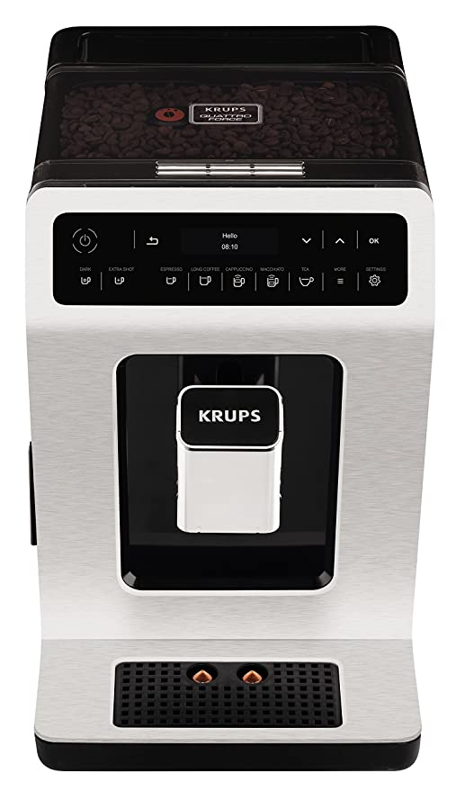 Krups – Cafetera automática de Evidence One Touch de capuchino, OLED de panel con pantalla táctil, 2.1 L, metal