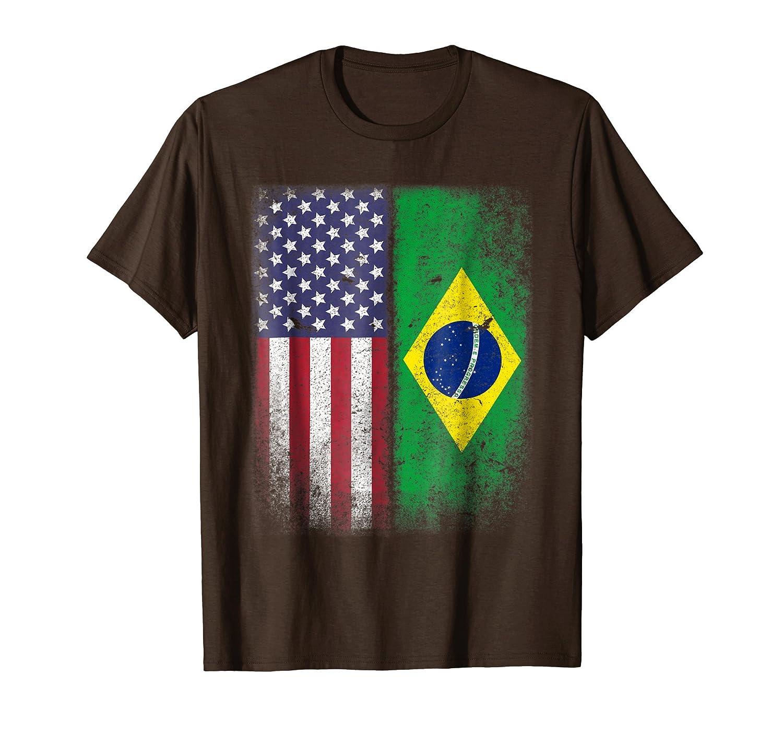 Brazilian American Flag T shirt Brazil Pride Brasil-ln