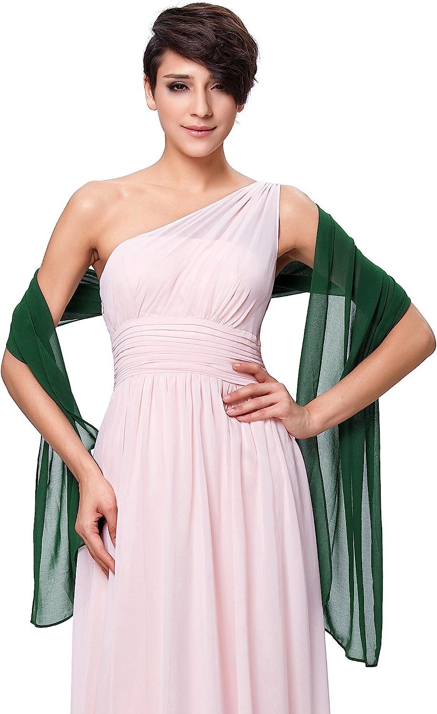 Kate Kasin Scialle Donna Elegante Sciarpa Chiffon per Cerimonie Serali Matrimonio 72 18 Tinta Unita Molte Scelte di Colore
