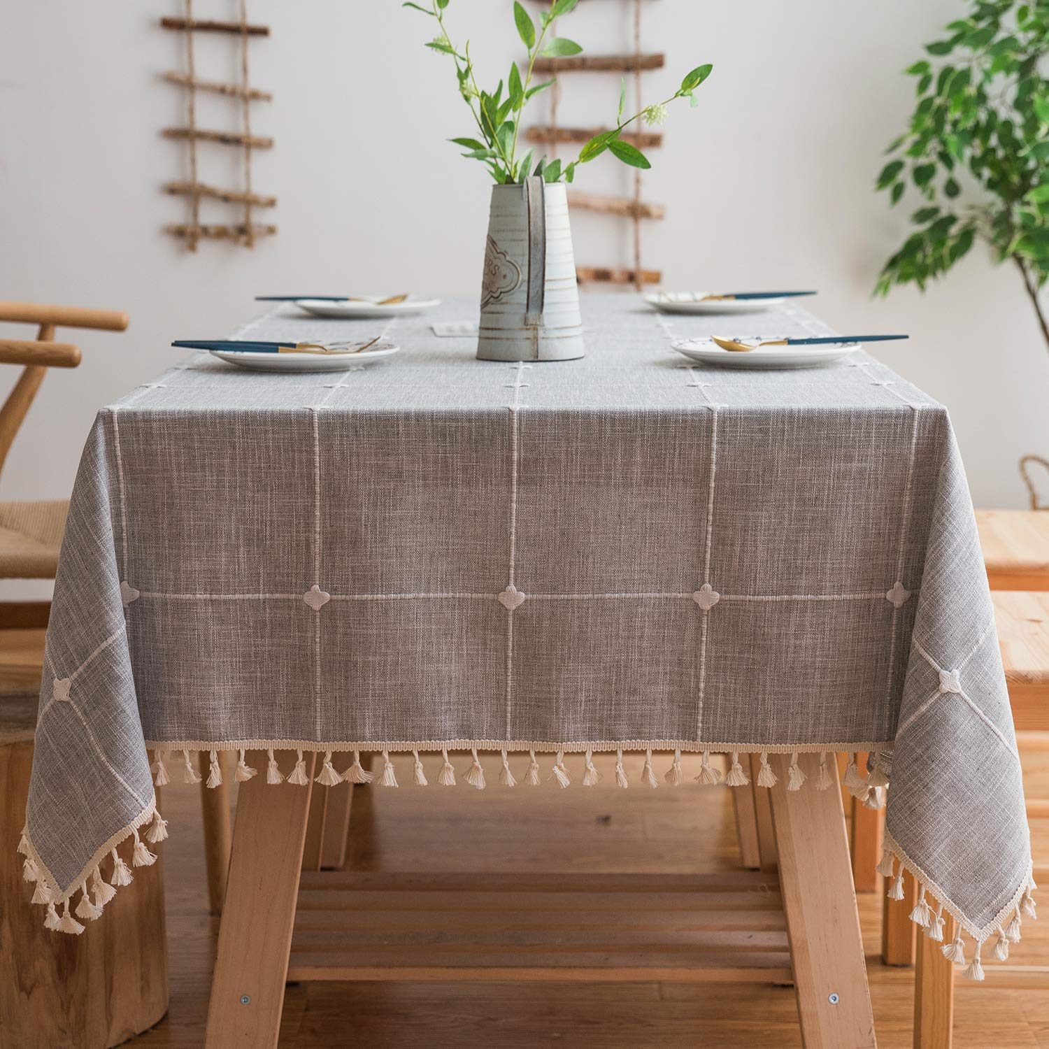 Mokani Washable Cotton Linen Solid Embroidery Lattice Design Tablecloth, Rectangle Table Cover Great for Kitchen Dinning Tabletop Buffet Decoration (55 x 86 Inch, Gray)