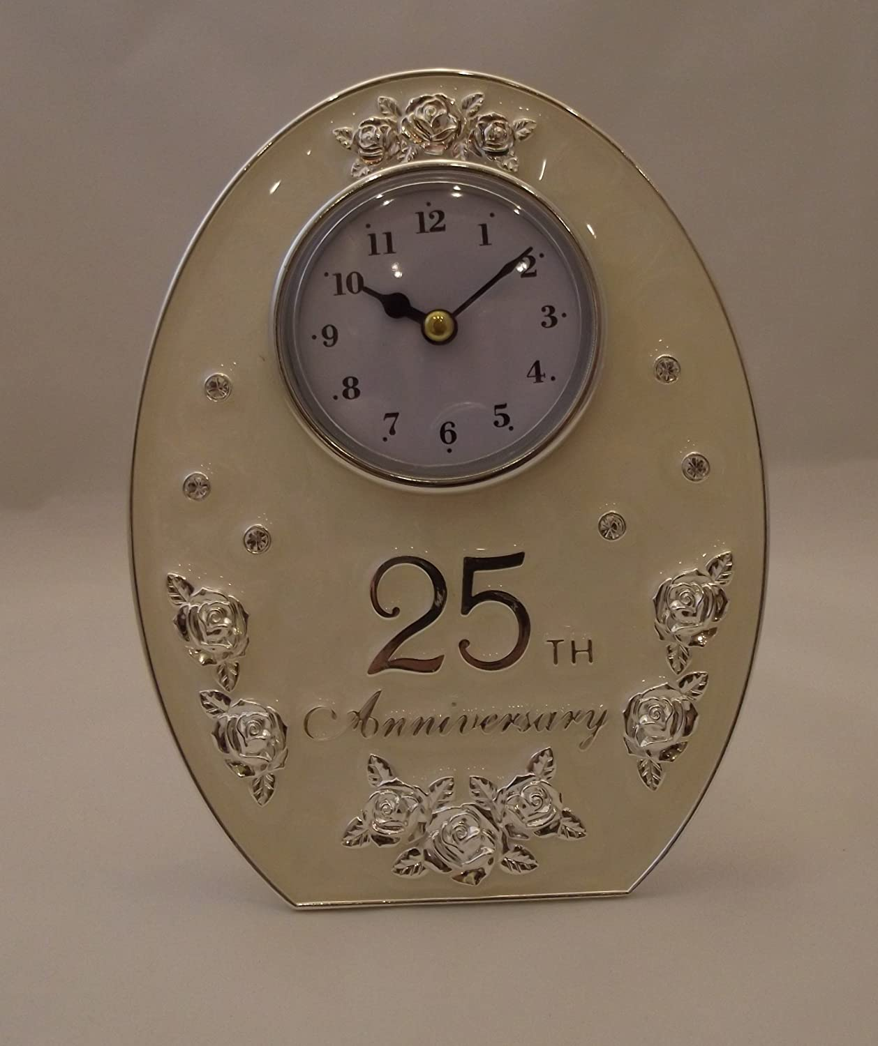 Crystal Glass & Rose Decorated 25th Wedding Anniversary Mantel Clock SoL 20850