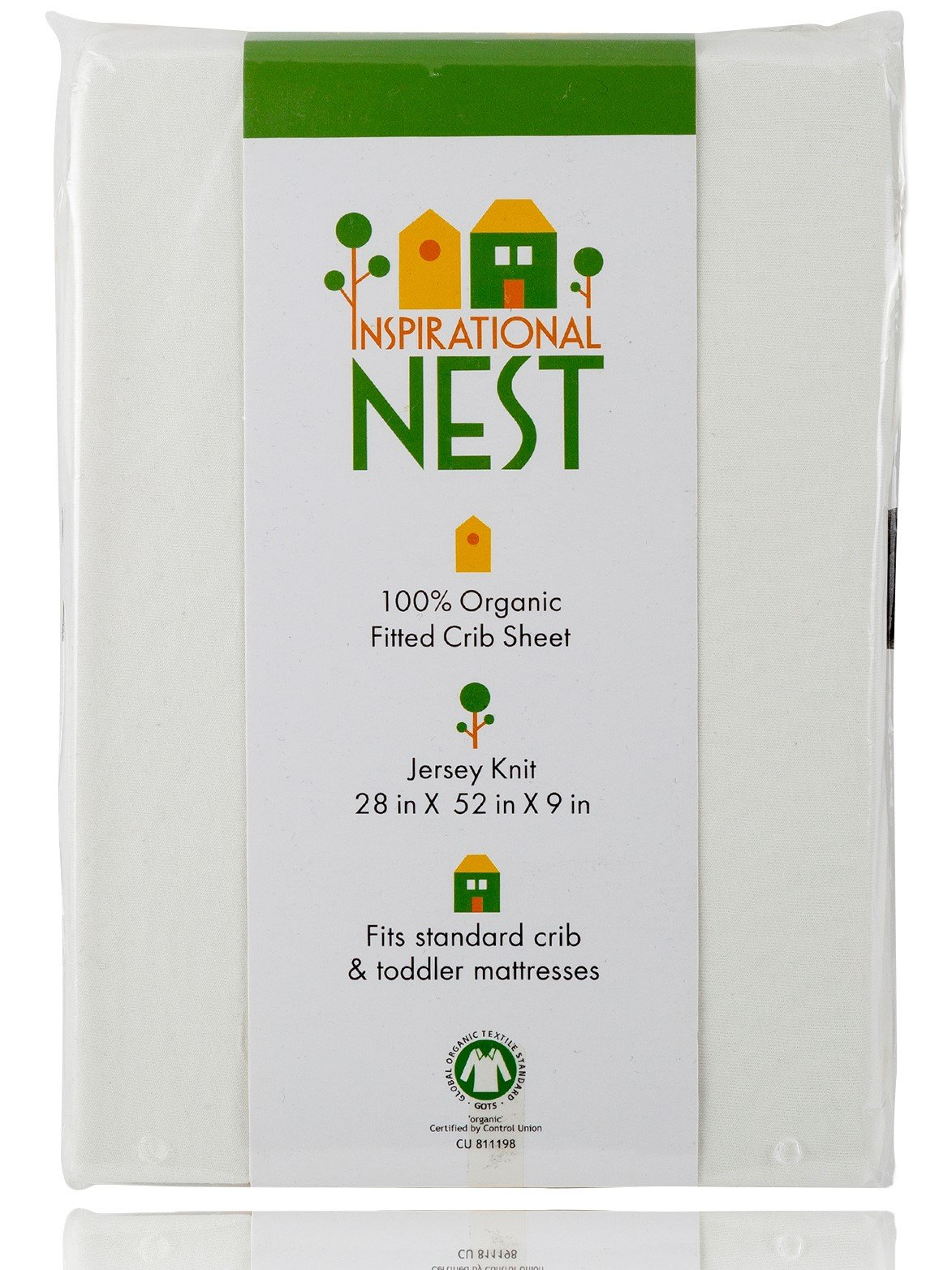 Organic Fitted Crib Sheet - GOTS Certified -100% Organic Cotton- Jersey Knit - More than Organic, Ultra-comfy, Clean and Safe Sheets (Natural/Ecru/Off White) by Inspirational NEST (Image #1)