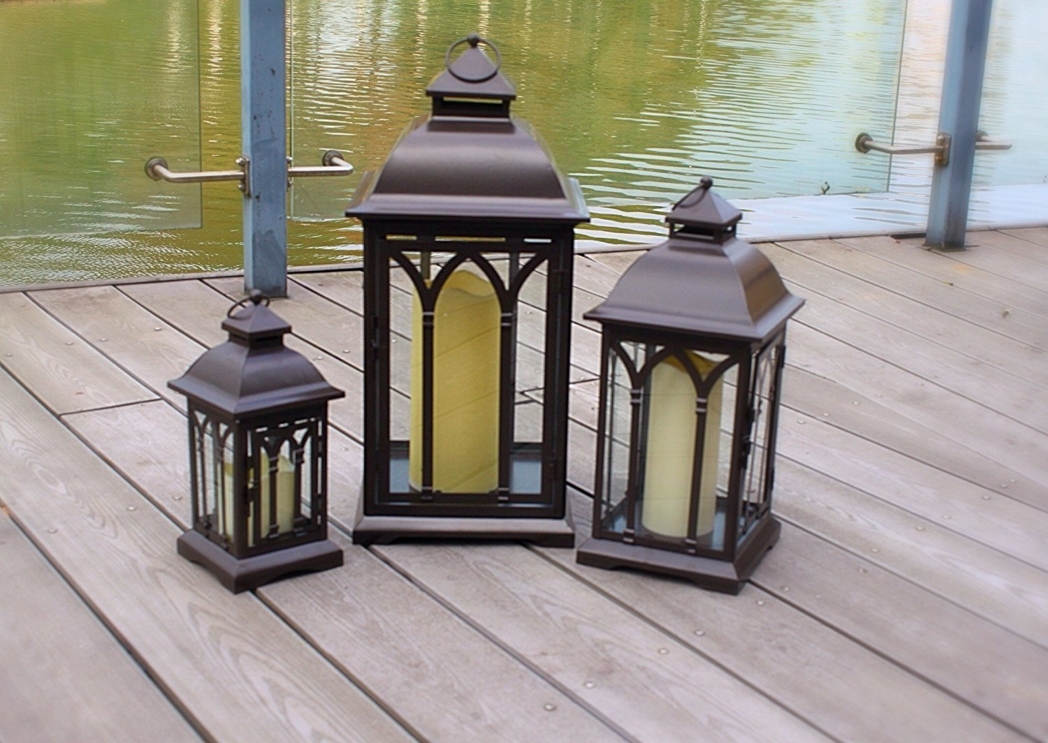 Set of 3 Indoor or Outdoor Metal Large Candle Lanterns