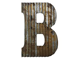Farmhouse Rustic 24'' Wall Decor Corrugated Metal Letter B