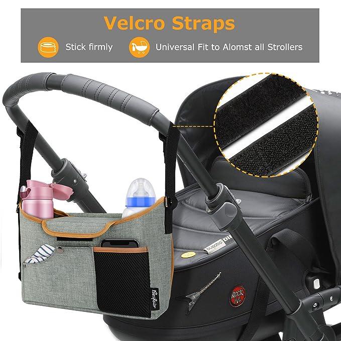 Bolso organizador para cochecito bebé,Besfair bolsa de enorme almacenamiento para silla de paseo con pañal de bebé y correa para hombro.
