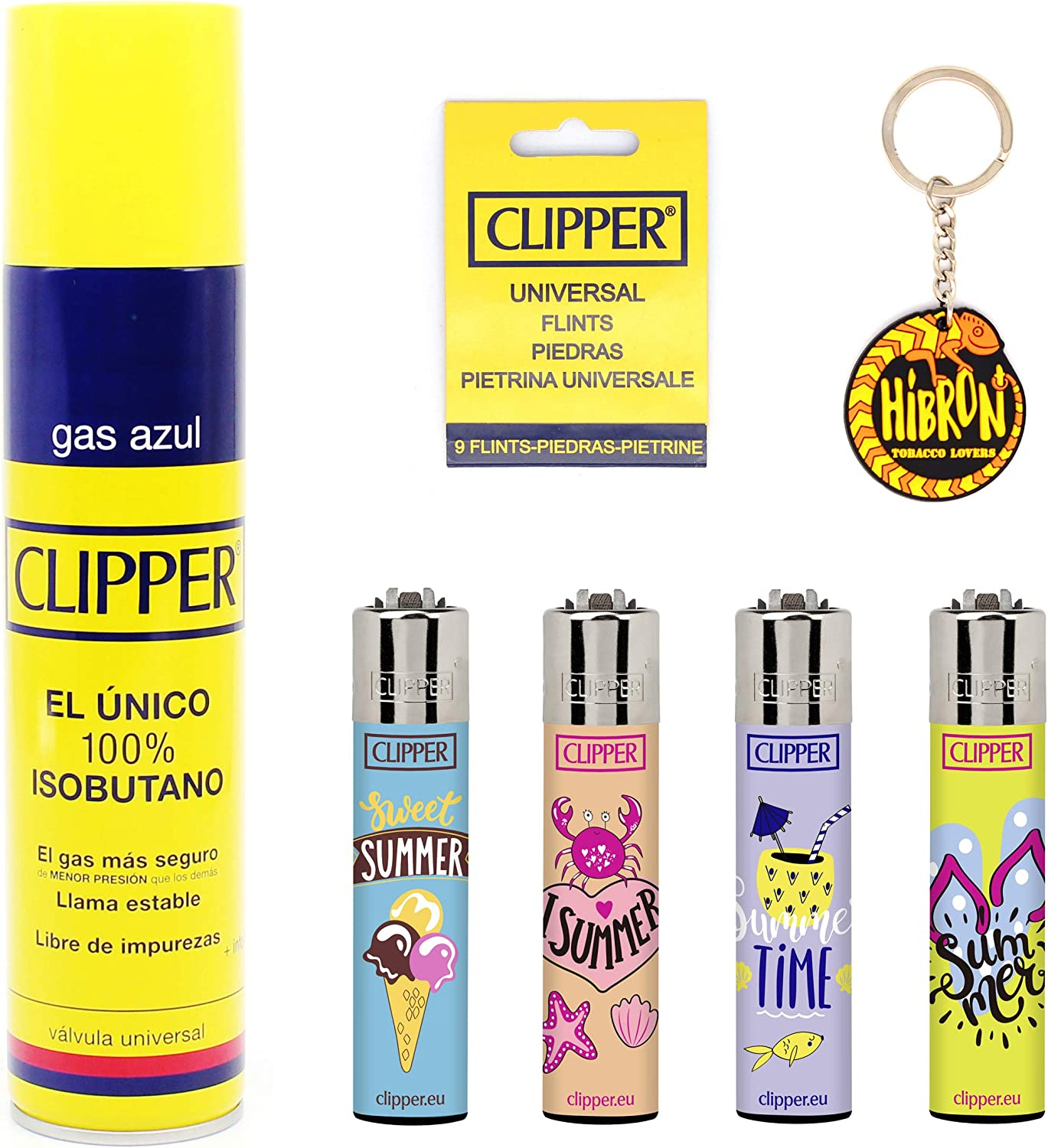 HIBRON Clipper 4 Mecheros Encendedores Diversos Surtidos Bonitos, 1 Carga Gas Encendedor Clipper 300 Ml,9uds De Piedra Clipper Y 1 Llavero Gratis 1-10003-10: Amazon ...