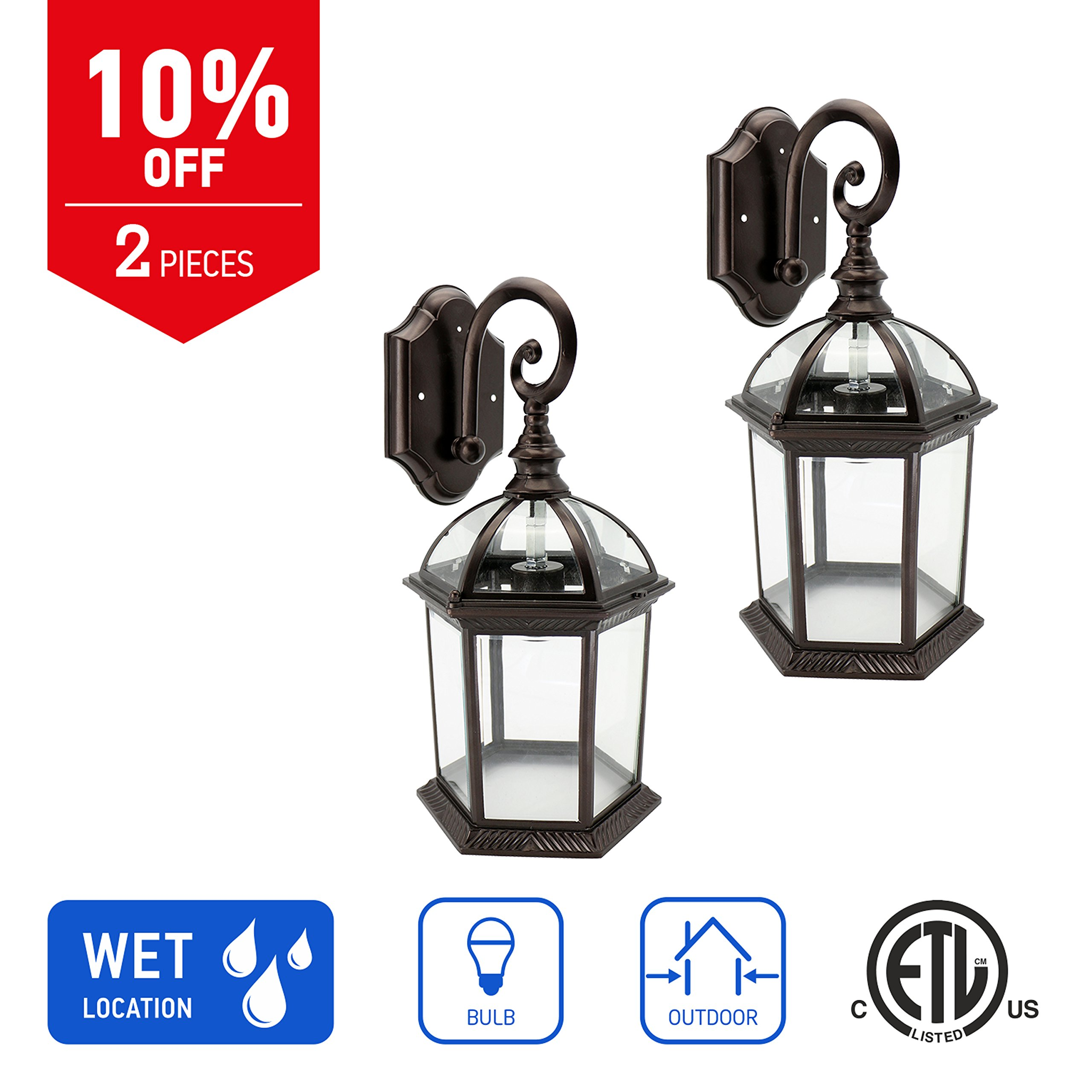 in Home 1-Light Outdoor Wall Mount Lantern Downward Fixture L07 Series Traditional Design Bronze Finish, Clear Glass Shade (2 Pack), ETL Listed