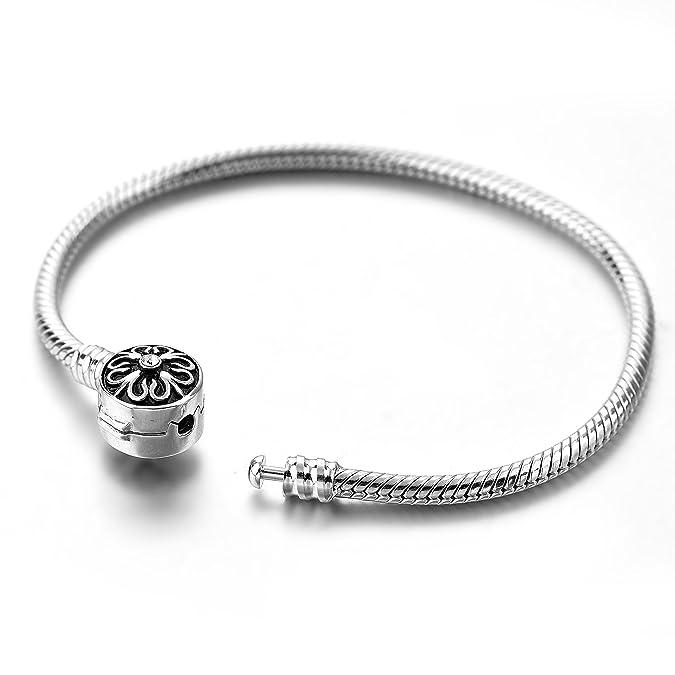 60185b0cf Amazon.com: Long Way 925 Sterling Silver Snake Chain Bracelet Basic Charm  Bracelets for Teen Girls Women (6.7Inch): Jewelry
