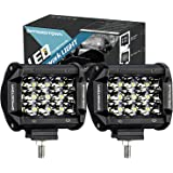 LED Pods, Offroad Town 4'' 72W LED light Bar triple row Spot Beam Cube Work Light Waterproof Driving Light for Off road, UTV, Truck, ATV, SUV, Jeep, 3 Years Warranty