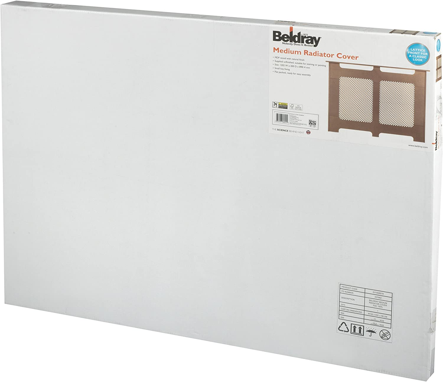 Beldray EH1842 White Satin Finish 100/% FSC Wooden Large Radiator Cover