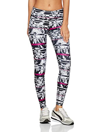 Puma Women's All Eyes on Me Tight Trousers, Black/White Feather Print, Small