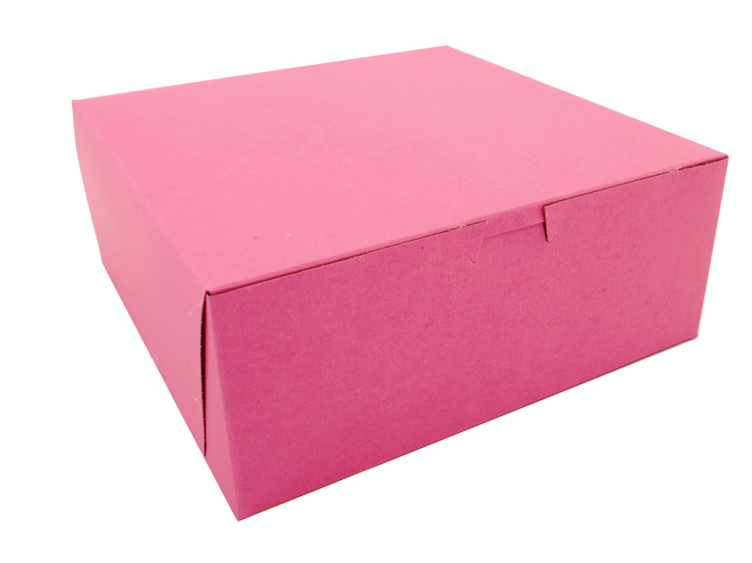 Southern Champion Tray 0873 Pink Paperboard Non-Window Lock-Corner Bakery Box, 10'' Length x 10'' Width x 4'' Height (Case of 100)