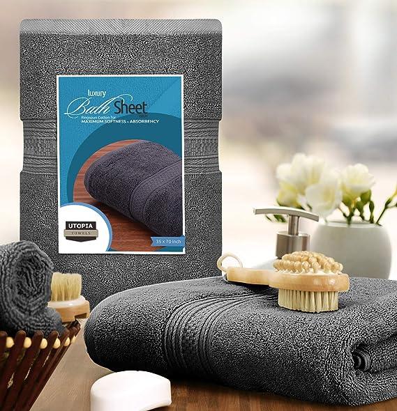 Utopia Towels - 700 GSM Toallas de baño de algodón (89 x 178 cm) Hoja de baño de lujo perfecto para el hogar, los baños, la piscina y el gimnasio Algodón de ...