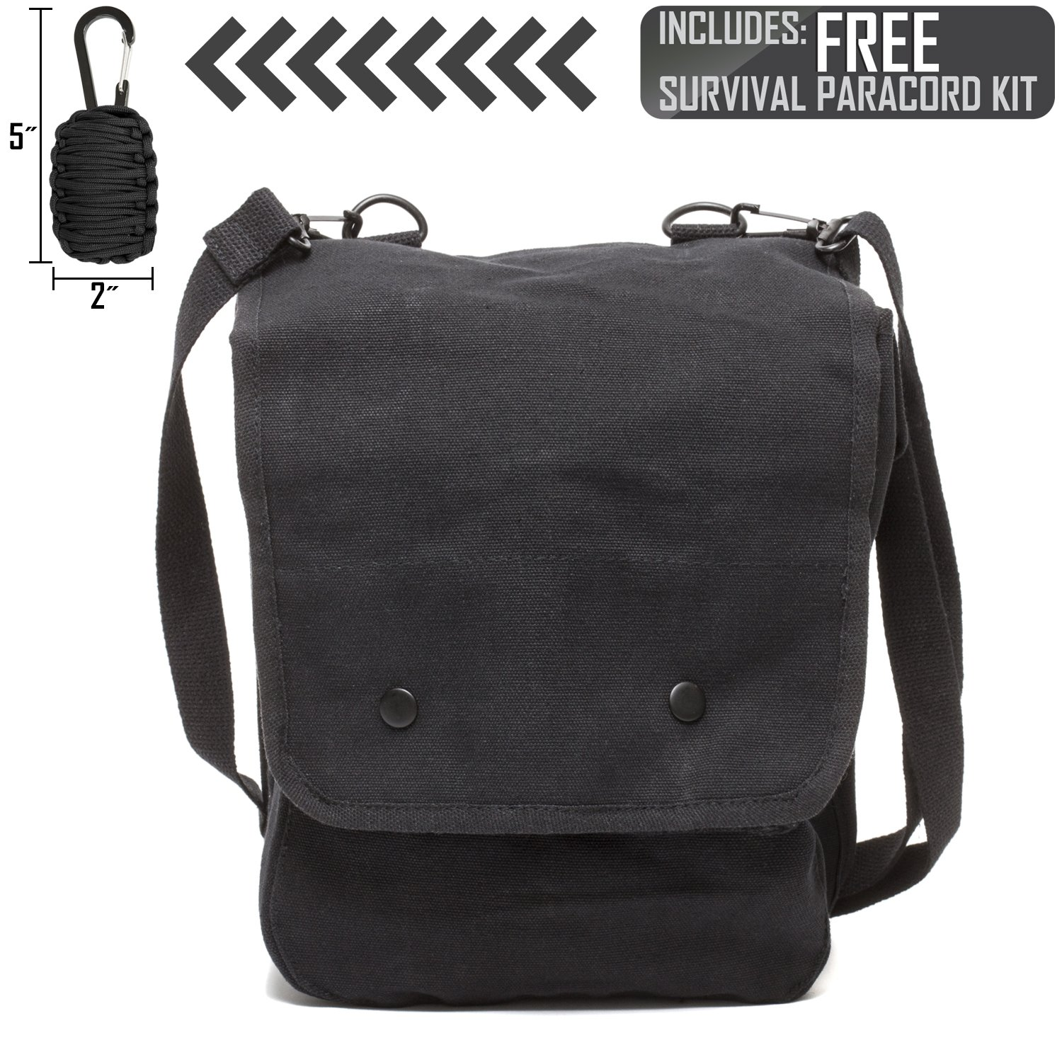47034f865ea9 Army Force Gear Heavyweight Canvas Crossbody Travel Map Bag Case w FREE  Paracord Survival Tool