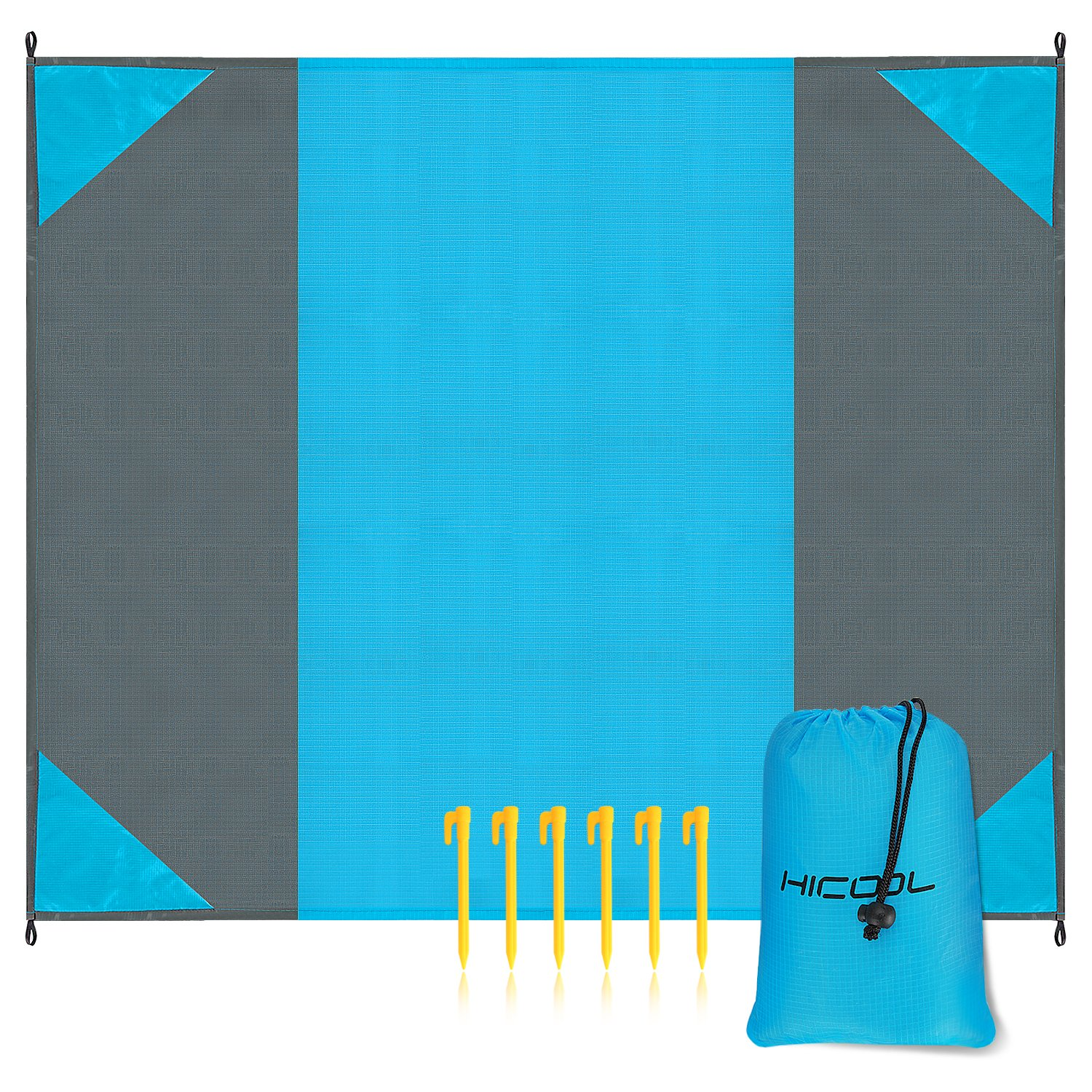 Hicool Oversize 275cm*213cm Beach Blanket Portable Polyester Waterproof Sand-proof Damp Proof Ultra-lightweight Large Picnic Mat Outdoor Machine Washable and Fast Drying Beach Mat (Grey&Blue)