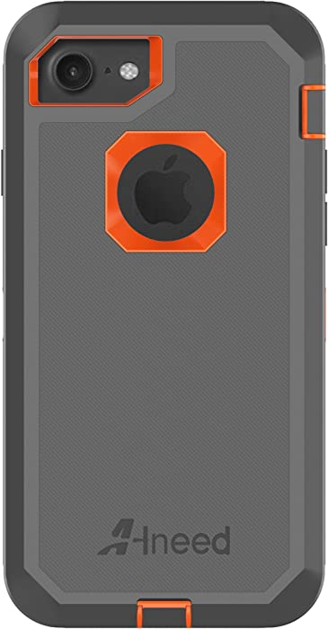 iPhone 8 Case,iPhone 7 Case,Heavy Duty Drop Protection Tough Rugged Hybrid Hard Shell Cover Case with Belt Clip Screen Protector for iPhone 7 [4.7 inch](Grey/Orange)