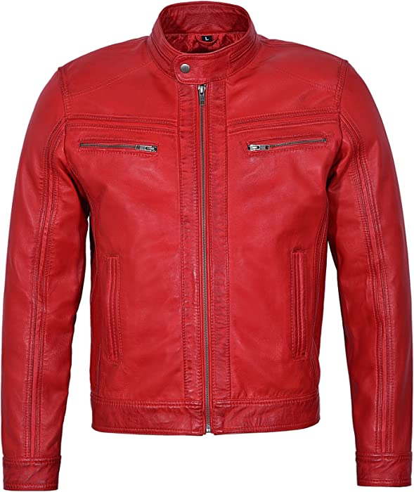 55281be7bb8  Rage  Men s RED Wax Short Bomber Biker Motorcycle Style Real Leather Jacket  (S) at Amazon Men s Clothing store