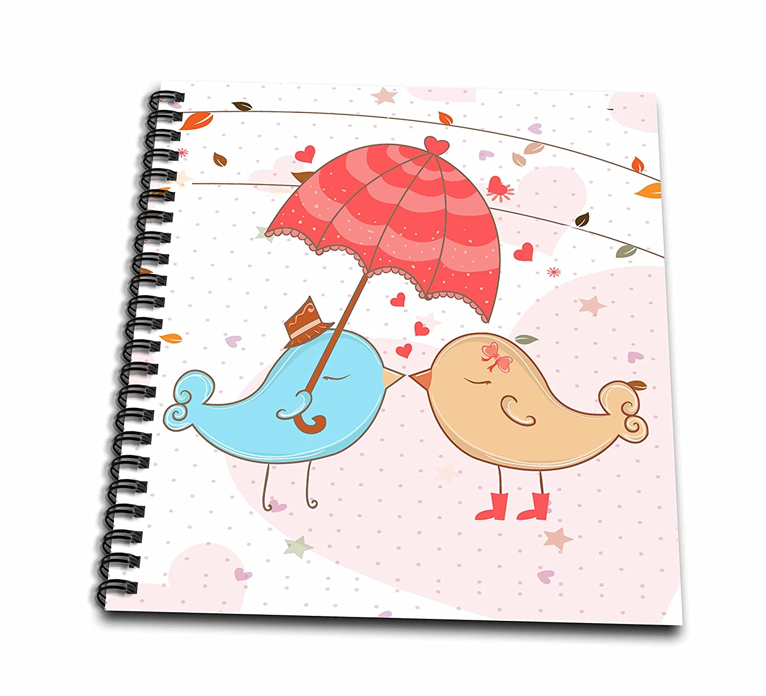 (12x12 memory book) - Dooni Designs Valentines Day and Love Designs - Cute Valentine Love Birds Kissing Under Umbrella Vector Cartoon - Drawing Book 12 by 12-Inch  B00CKZ113I