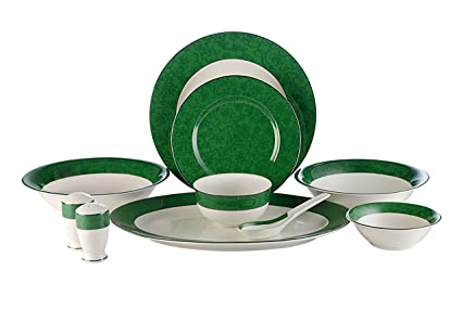 Hitkari Potteries Porcelain Dinner Set, 35-Pieces, Green