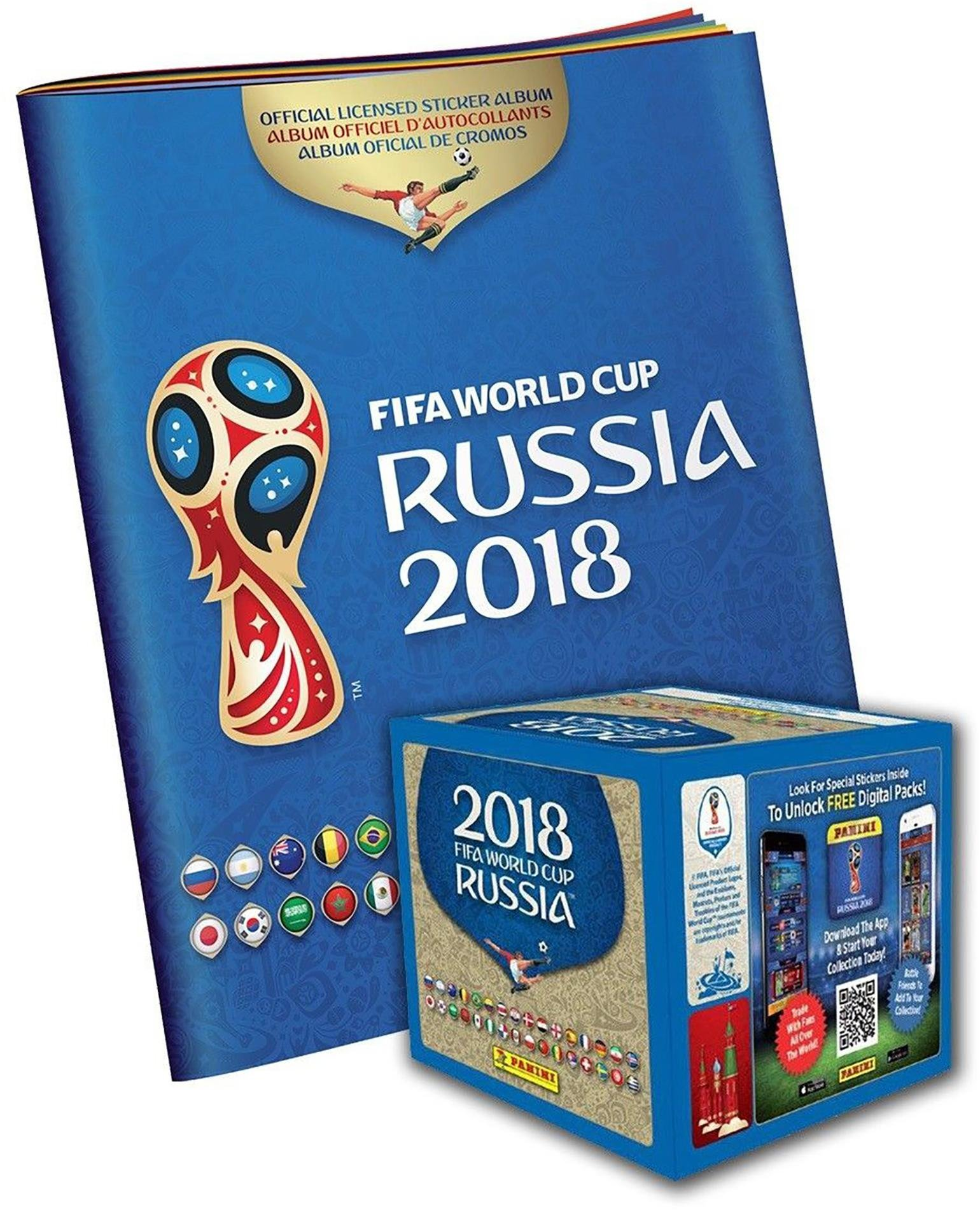 2018 Panini Russia FIFA World Cup Soccer Sticker Bundle with 50 Pack Box & Sticker Album - Fanatics Authentic Certified