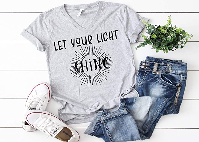 396f08a7d Image Unavailable. Image not available for. Color: Let Your Light Shine, Christian  Faith, Faith Tee ...