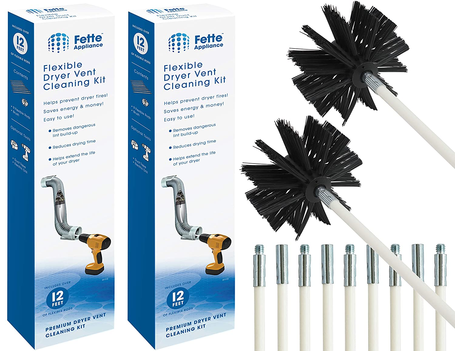 Fette Appliance - Flexible Dryer Vent Cleaning Kit, Lint Remover, 2-Pack Extends up to 24 Feet, Synthetic Brush Head, Use with or Without a Power Drill. Pack of 2